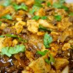 牛塊肉で作る陳麻婆豆腐 2種の豆板醤のブレンドを試す