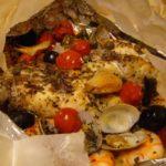 魚介(鯛とエビ、あさり)のカルトッチョ (紙包み焼き)