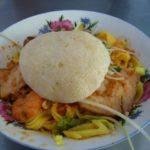 ダナン名物幅広汁なし麺「ミークアン(MI QUANG)」にコンデンスミルクたっぷりのベトナムコーヒー  2007ベトナム旅行