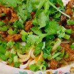 稲庭うどんで作る四川風 汁なし担々麺