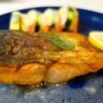 秋レシピ !秋鮭のムニエル ズッキーニ、ナスとトマトのチーズグラタン添え