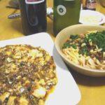 陳麻婆豆腐と汁なし坦々麺 見よう見まねに作ってみた。松の実入りです。