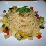 体ひんやり、夏野菜のアンチョビソース冷製パスタを作ってみた。