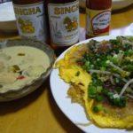 グリーンカレー、ホイトード(牡蠣のお好み焼)