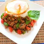 いつもの食材(豚ミンチとシソ)&調味料で旨味辛味簡単ガパオライス