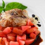 夏にさっぱり!鱈のムニエル福島県産フレッシュトマトのバルサミコソース